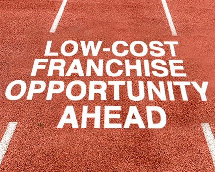 An Olympic Running Track With Caption Reading 'Low-Cost Franchise Opportunity Ahead'